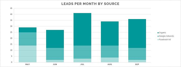 Leads generated by month and by source