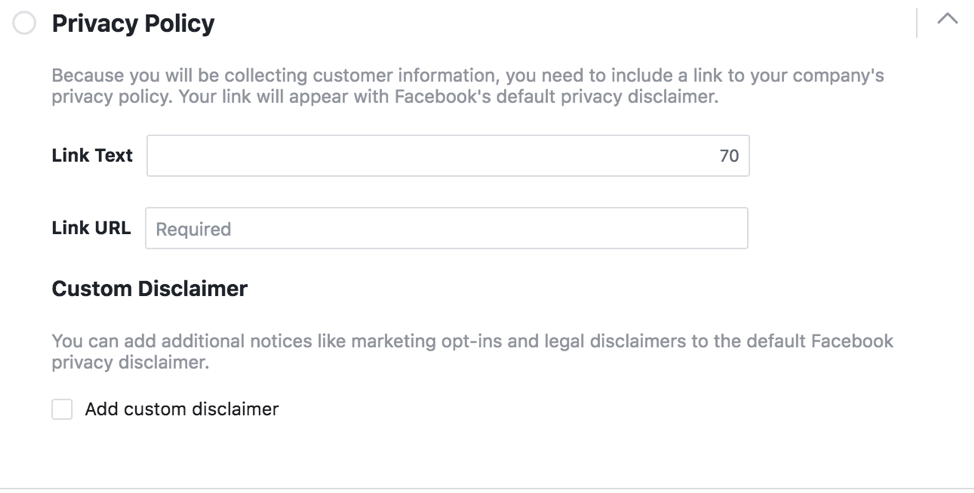 Facebook Privacy Policy Example