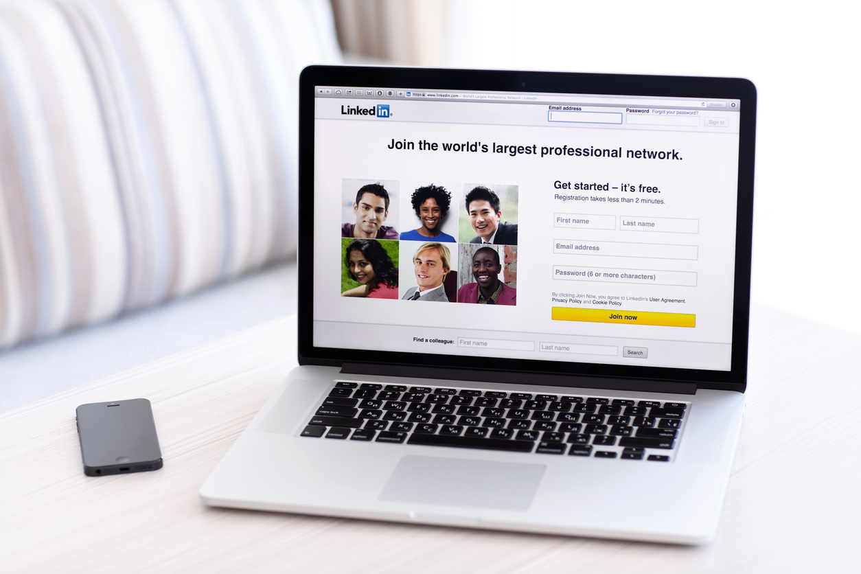 LinkedIn login page on laptop