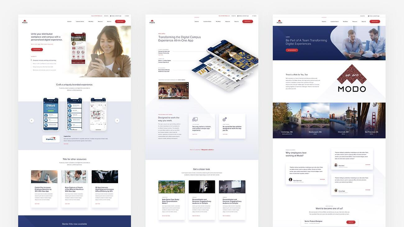 Modo page designs