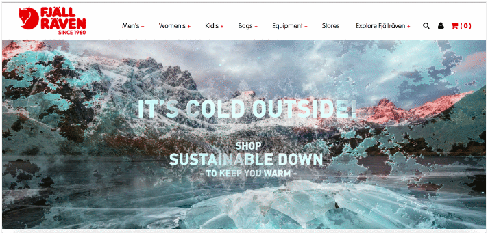 Fjällräven homepage banner for cold climates.
