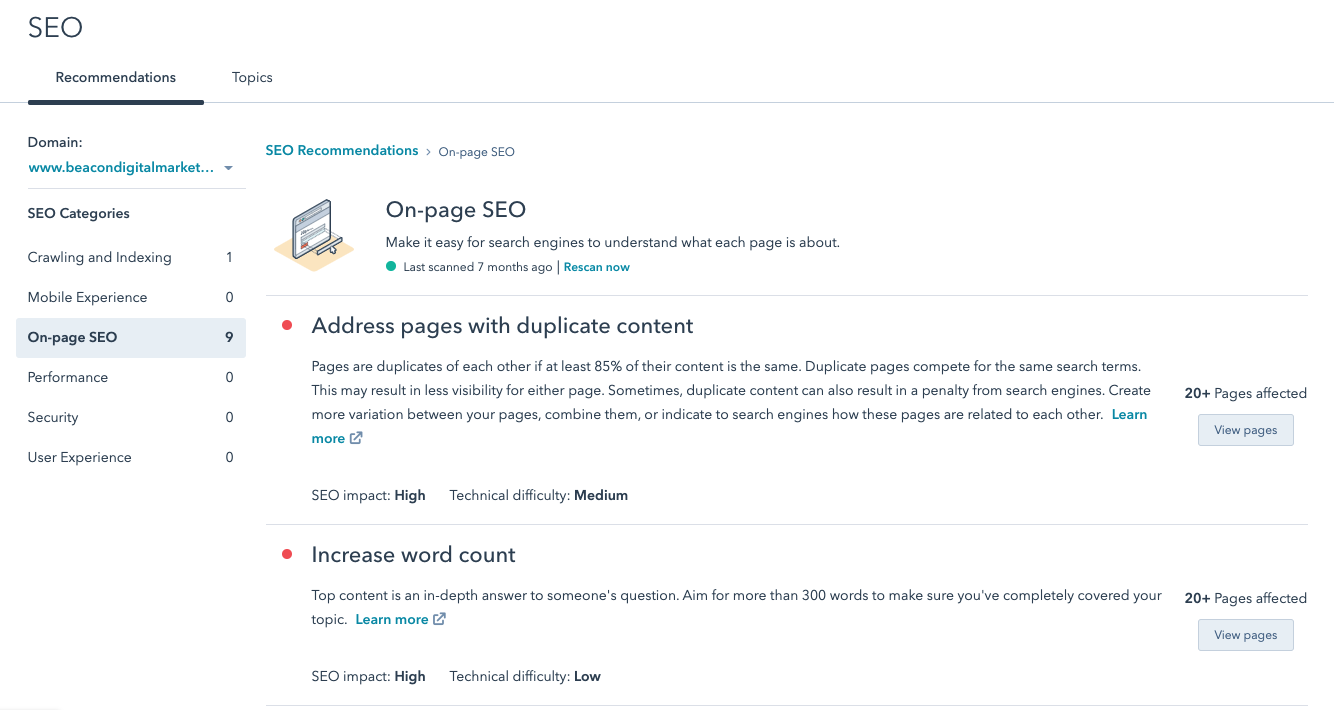 HubSpot SEO Recommendation Engine